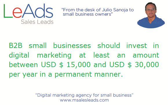 Digital marketing investment for B2B small businesses