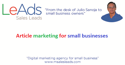 Article marketing for small businesses